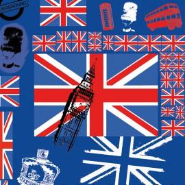Feuilles décopatch bleu Angleterre