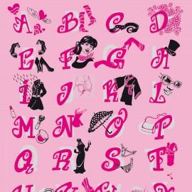 Feuilles décopatch rose femme parapluie noire argent