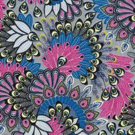 Feuilles décopatch ramage argent rose et violet
