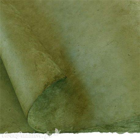 Papier népalais lokta lamaLi vert olive