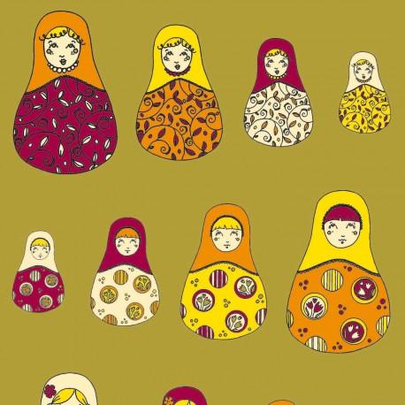 Feuilles décopatch fond doré poupées russes