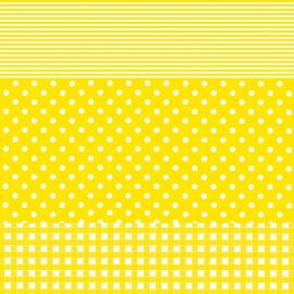 Feuilles décopatch vichy ronds et lignes jaune