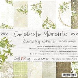 Papier scrapbooking Craft O Clock Celebrate Moments 18fe assortiment 20x20