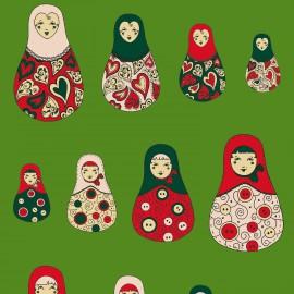Feuilles décopatch fond vert poupées russes