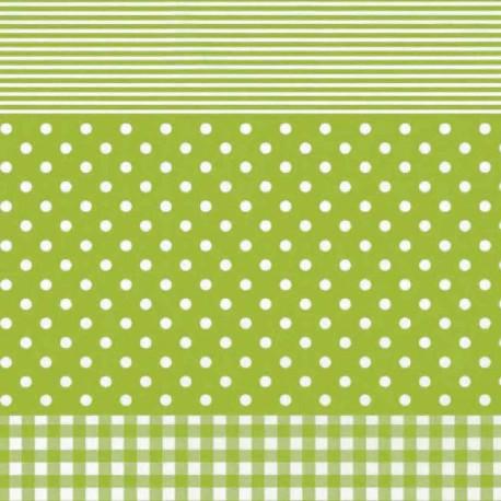 Feuilles décopatch vichy ronds et lignes vert anis