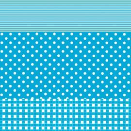 Feuilles décopatch vichy ronds et lignes bleu turquoise