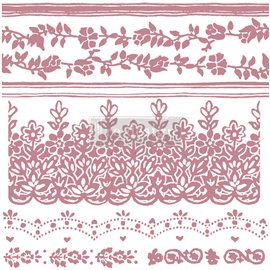 Tampon Redesign Decor Stamps Floral Borders 30,5x30,5cm - 7 pièces