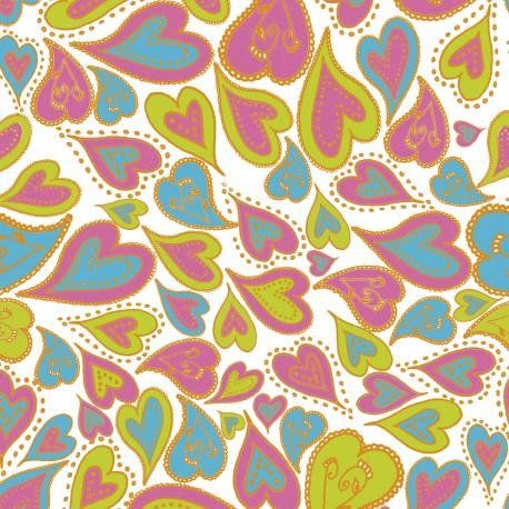 Feuilles décopatch coeurs rose bleu vert