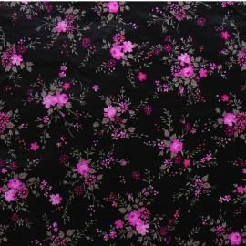 3 Feuilles décopatch petites fleurs rose et taupe sur noir