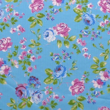 3 Feuilles décopatch bleu fleurs rose