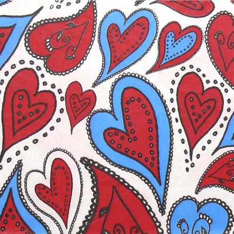 3 Feuilles décopatch coeurs blanc bleu et rouge
