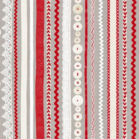 3 Feuilles décopatch taupe bandes lin blanc et rouge