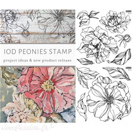 Tampon double plaque IOD Clear Stamps Peonies