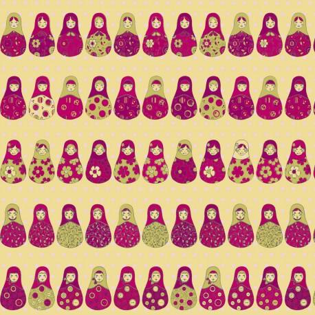 3 Feuilles décopatch poupées russes roses fond vanille et doré