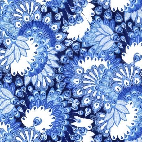 Feuilles décopatch ramages bleu