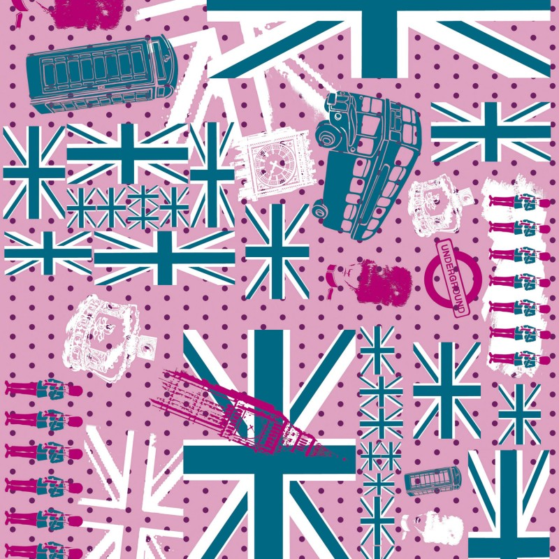 D copatch loisirs cr atifs feuilles drapeau anglais rose bleu et gris - Drapeau anglais gris ...