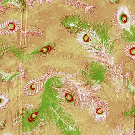Feuilles décopatch fond dore plumes rouge vert et blanc