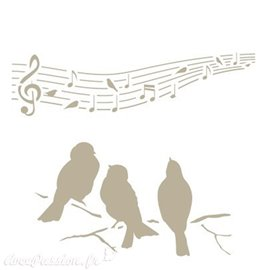 Pochoir décoratif MYA Mini Figure 115 Birds Music S