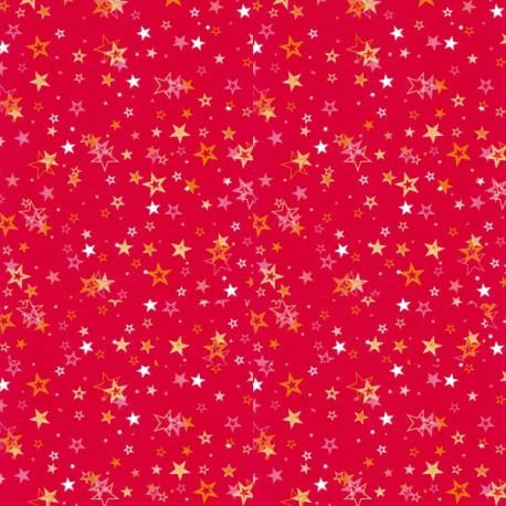 Feuille décopatch étoile blanche rose orange or sur rouge