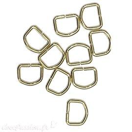 Attaches anneaux dés étriers laitonnés D11 petits non soudés pour tresse de lin x10