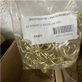 Attaches anneaux dés étriers laitonnés D14 moyens soudés pour tresse de lin 43421*500