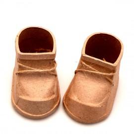 Objet brut 2 chaussures de bébé papier maché marron