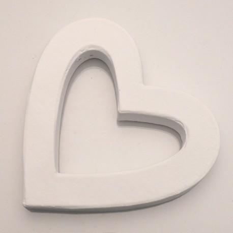 Objet brut coeur creux droit carton peint blanc