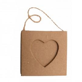Cadre photo brut 1 coeur à décorer carton brut
