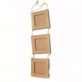 Cadre photo brut 3 carrés reliés carton brut