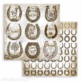 Papier Scrapbooking Romantic Horses horseshoe Stamperia 30x30cm double face