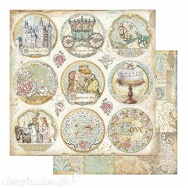 Papier Scrapbooking Sleeping Beauty rounds Stamperia 30x30cm double face
