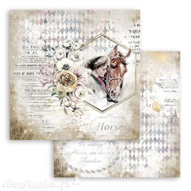 Papier Scrapbooking Romantic Horses lady with horse Stamperia 30x30cm double face