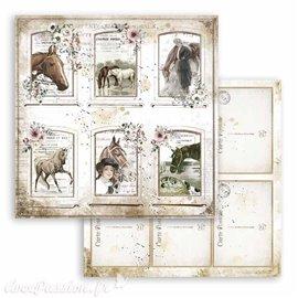 Papier Scrapbooking Romantic Horses cards Stamperia 30x30cm double face