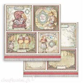 Papier Scrapbooking Alice cards Stamperia 30x30cm double face