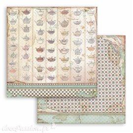 Papier Scrapbooking Tea cup texture Stamperia 30x30cm double face