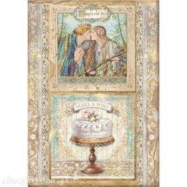 Papier de riz Sleeping Beauty cake frame Stamperia A4