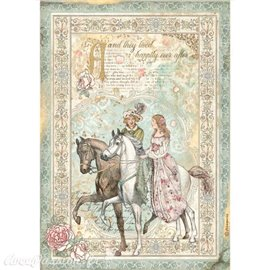 Papier de riz Sleeping Beauty prince on horse Stamperia A4