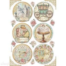 Papier de riz Sleeping Beauty rounds Stamperia A4