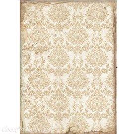 Papier de riz Sleeping Beauty wallpaper gold Stamperia A4