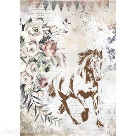Papier de riz Romantic Horses running horse Stamperia A4