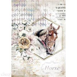 Papier de riz Romantic Horses lady frame Stamperia A4