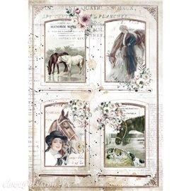 Papier de riz Romantic Horses 4 frames Stamperia A4