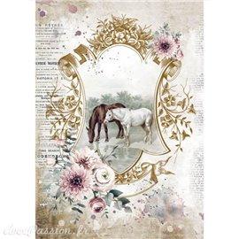 Papier de riz Romantic Horses lake Stamperia A4