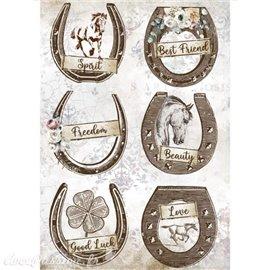 Papier de riz Romantic Horses horseshoes Stamperia A4