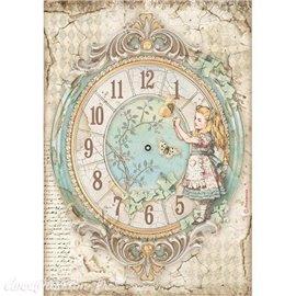 Papier de riz Alice clock Stamperia A4