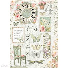 Papier de riz La Vie en Rose Stamperia A4