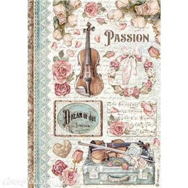 Papier de riz Passion music Stamperia A4