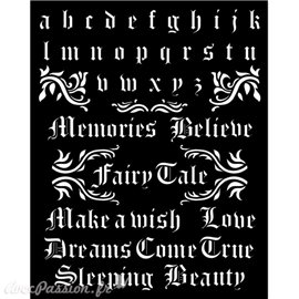 Pochoir Sleeping Beauty alphabet and quotes Stamperia 20x25cm