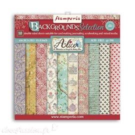 Bloc Papier scrapbooking Stamperia Backgrounds Selection Alice 20x20