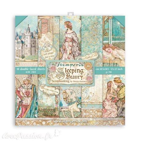 Papier scrapbooking Sleeping Beauty Stamperia 10f 30x30 assortiment